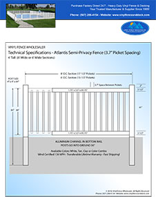 4' tall white pool fence panel