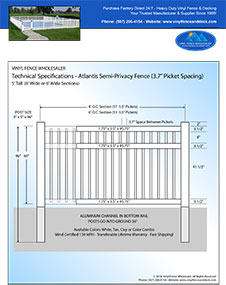 3' tall white pool fence panel