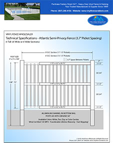 6' tall swimming pool fence panel