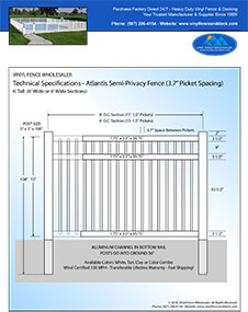 6' tall vinyl pool fence panel