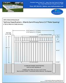 6' tall vinyl pool fence panel