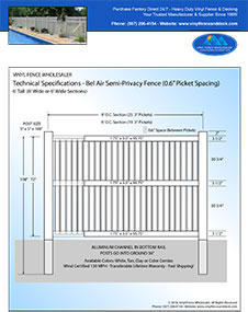 6' Tall White PVC Pool Fence panel
