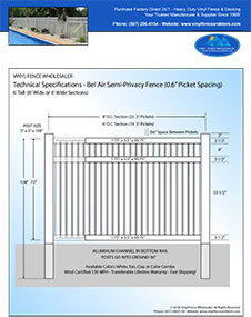 7' Tall White PVC Pool Fence panel