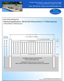 8' Tall White PVC Pool Fence panel