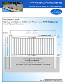 4' Tall White Vinyl Swimmming Pool Fence panel
