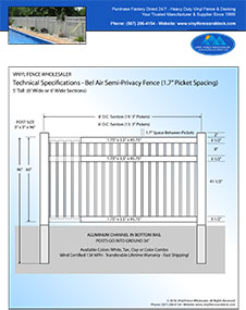 3' Tall White Vinyl Swimmming Pool Fence panel
