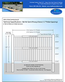 5' Tall White Vinyl Swimmming Pool Fence panel