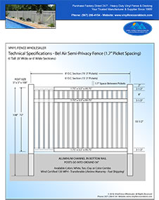 6' Tall White Vinyl Swimmming Pool Fence panel