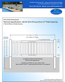 8' Tall White Vinyl Swimmming Pool Fence panel