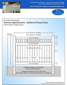 California Vinyl Fence Panel