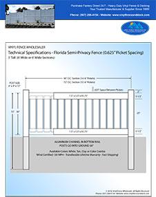Florida Pool fence panel 6' Tall