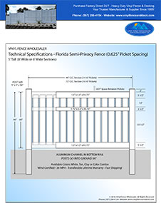Florida White Pool Fence 5' Tall