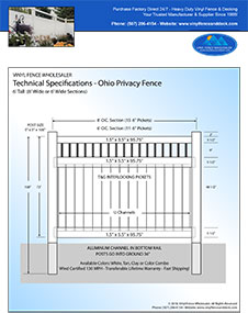 ohio 6 foot tall white privacy fence panel