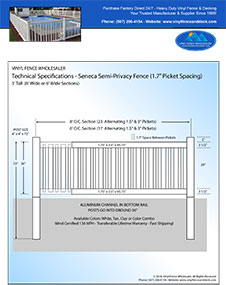 5' tall Seneca pool fence panel
