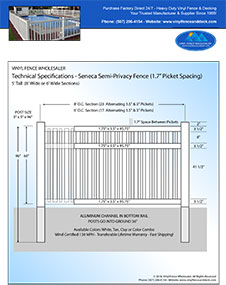 4' tall Seneca pool fence panel