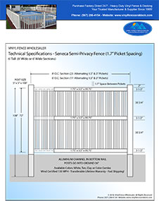6' tall Seneca pool fence panel