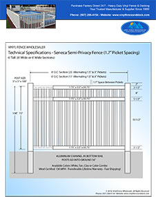 3' tall Seneca pool fence panel