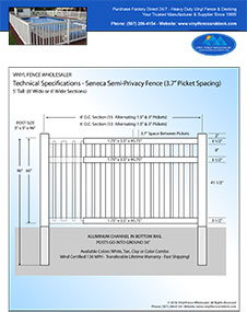 6' tall Seneca swimming pool fence panel