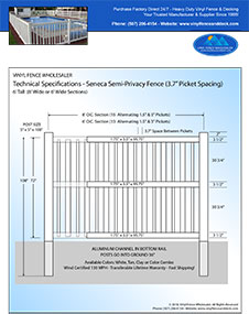 7' tall Seneca swimming pool fence panel