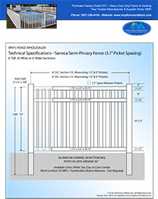 8' tall Seneca swimming pool fence panel
