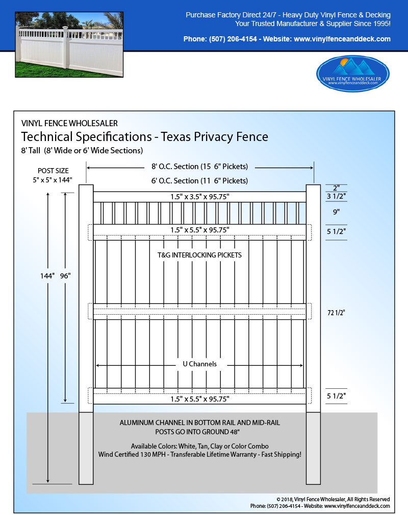 Texas White Privacy Fence