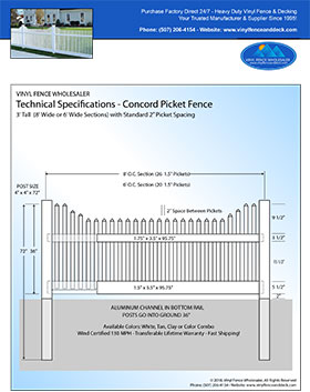 4' tall white Concord Picket fence panel