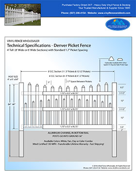 4' tall white Denver picket fence panel