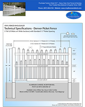 5' tall white Denver picket fence panel