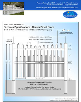 6' tall white Denver picket fence panel