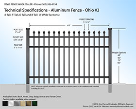 Ohio Aluminum Fence Specification Drawing 3