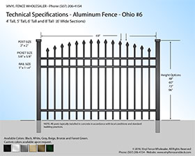 Ohio Aluminum Fence Specification Drawing 6