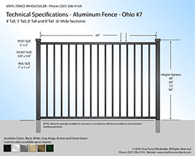 Ohio Aluminum Fence Specification Drawing 7