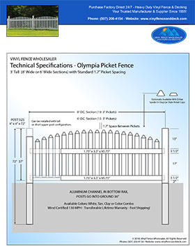 6' tall arched vinyl picket fence panel