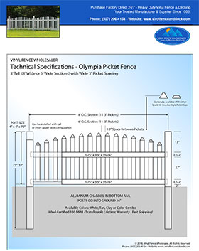5' tall Olympia Arched Vinyl Picket Fence panel
