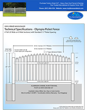 5' tall arched picket fence panel Olympia