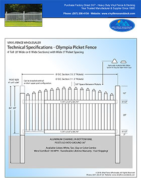 6' tall Arched Vinyl Picket Fence