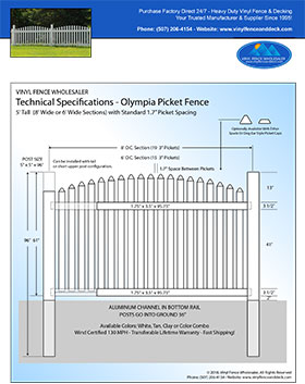 4' Tall Olympia Arched Vinyl Picket Fence panel