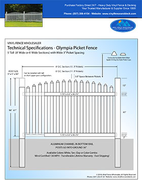 7' tall arched white picket fence panel