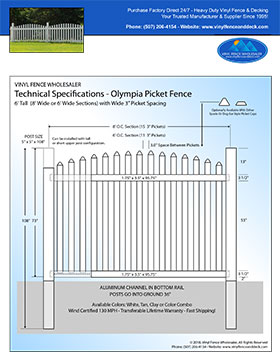 3' tall arched picket fence panel