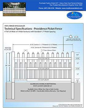 4' tall white Providence Picket fence panel