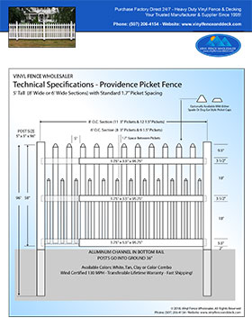 5' tall white Providence Picket fence panel