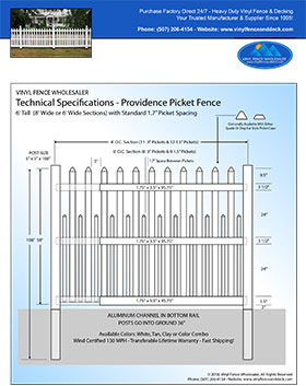 6' tall white Providence Picket fence panel