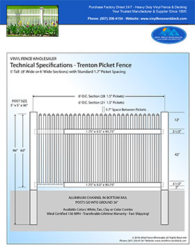 5' tall white privacy fence panel