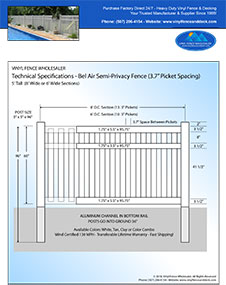 6' tall white bel air semi privacy fence pool fence panel