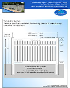 6' Tall White Pool Fence panel