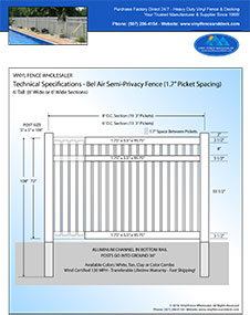 6' Tall Bel Air Semi Privacy Fence White Vinyl Swimmming Pool Fence panel