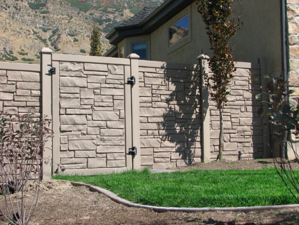 A Simulated stone privacy fence