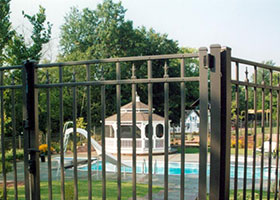6 Foot Tall Gray Aluminum Fence