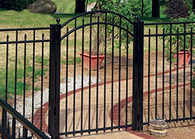 6 Foot Tall Black Aluminum with arched walk gate