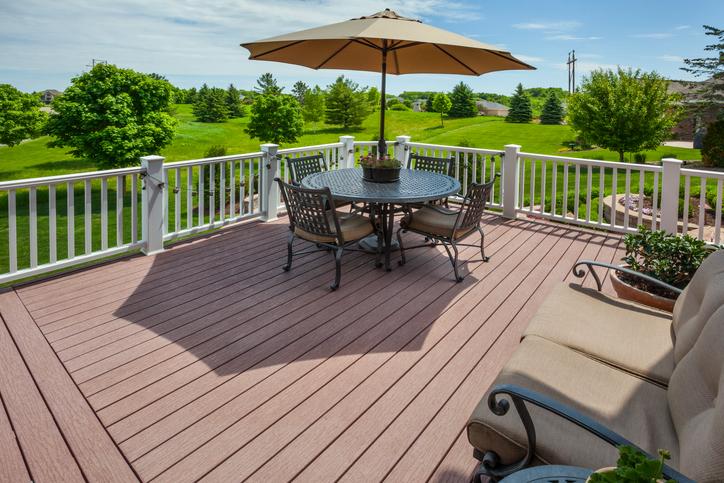 A spacious wood-grain vinyl deck